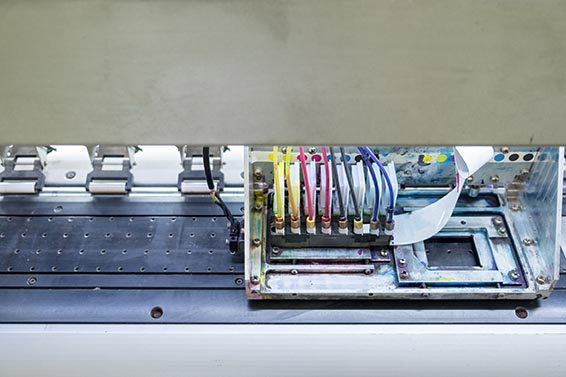 Printer machine inkjet close up on top view