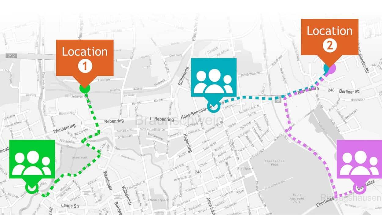 Geo-Individualisierung nutzt Kundendaten für personalisierte Kartenausschnitte und Routenpläne. (© locr.com)