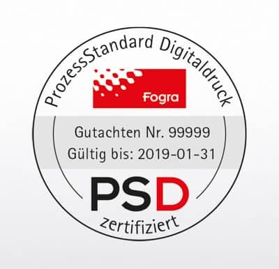 So sieht das Siegel aus, mit dem die Fogra die Einhaltung der Prozessstandards im Digitaldruck bescheinigt. (Foto: © Fogra Deutschland)