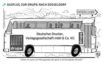 Auf zur Drupa: Die Karikatur auf Seite 4 wurde personalisiert. (Bild: © Deutscher Drucker)