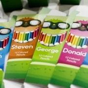 Farbstifte mit personalisierter Verpackung