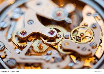Geöffnetes Werk einer Taschenuhr